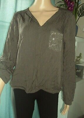 T-SHIRT/TOP/TUNIQUE -blouse brune bouffante MADE IN ITALY T S/M -occasion/défaut