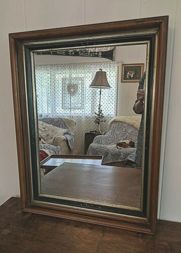 Large Antique Victorian Walnut Chip Carved Deep Well Picture Frame With Mirror