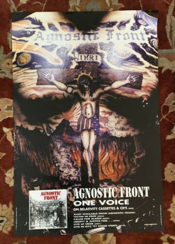 AGNOSTIC FRONT  One Voice  rare original promo poster from 1992