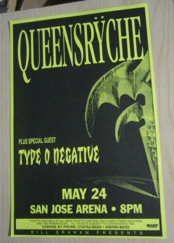 Queensryche + Type O Negative 1995 San Jose Arena Concert Original Show Poster