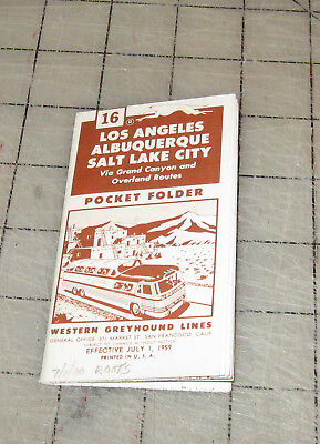 WESTERN GREYHOUND #16 (July 1, 1959) Pocket Folder Time Tables - LA - Salt lake