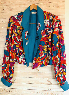 MARC D'ALCY Cropped Jacket Beaded Embroidered VTG Retro-size 10