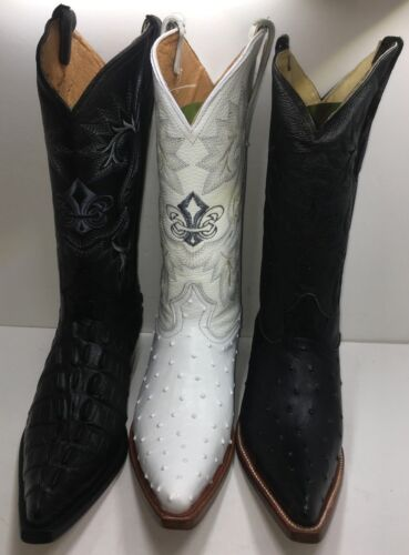 Mens, Cowboy, Boots, Ostrich/Crocodile, Print, Leather, Western, Rodeo, Black/Off-White