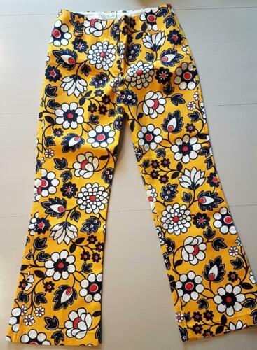 Vtg 60s RARE YELLOW Hip Hugger Flared Pants Bold Flower Print Mens Womens XS