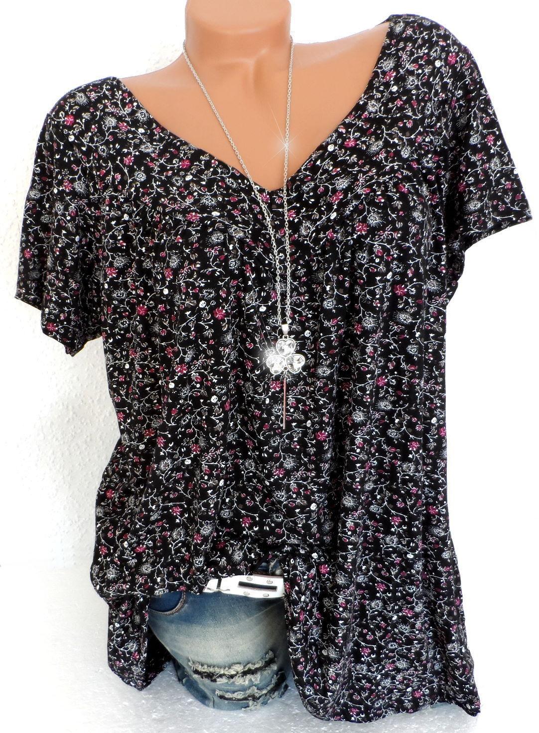 Damenshirt Größe 48 50 52 Tunika Longshirt T-Shirt Bluse Millefleur Übergröße