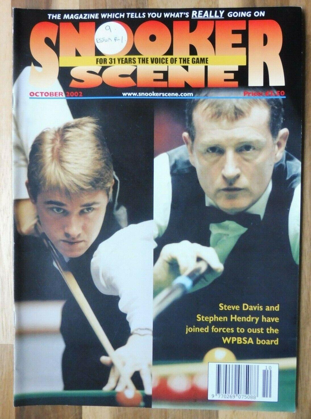 Snooker Scene Magazine, October 2002, Good Condition.