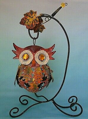Metal Autumn Leaves Hanging Owl Jewel Eyes Candle Votive Holder with Stand