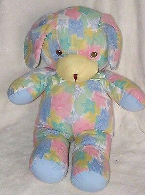 Well Made Toy Plush Blue Puppy Dog Pastel Star Print Cloth Stuffed Animal