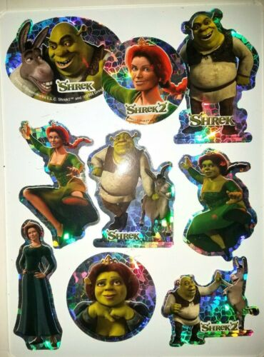"Lot of 9 ""SHREK 2"" Movie Stickers / Decals - vending machine assortment, New"