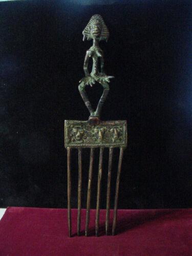 """Vintage African Art Bakota bronze comb statue 13.75""""long - Gabon"""