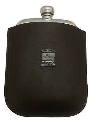 Bee Hive Pewter 4oz Kidney Hip Flask Leather Pouch FREE ENGRAVING 029