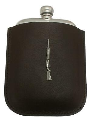 Auto Shotgun Pewter 4oz Kidney Hip Flask In Leather Pouch FREE ENGRAVING 014