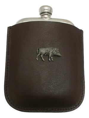 Boar Running Pewter 4oz Kidney Hip Flask Leather Pouch FREE ENGRAVING 035