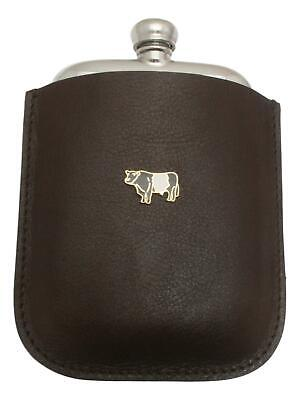 Belted Galloway Pewter 4oz Kidney Hip Flask Leather Pouch FREE ENGRAVING 032