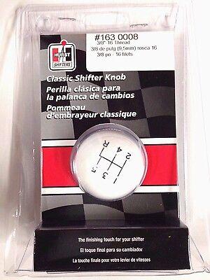Hurst 1630008 White Classic Ball Shifter Knob 5-speed 3/8 - 16 Threads  - Hurst Classic Shifter Knob