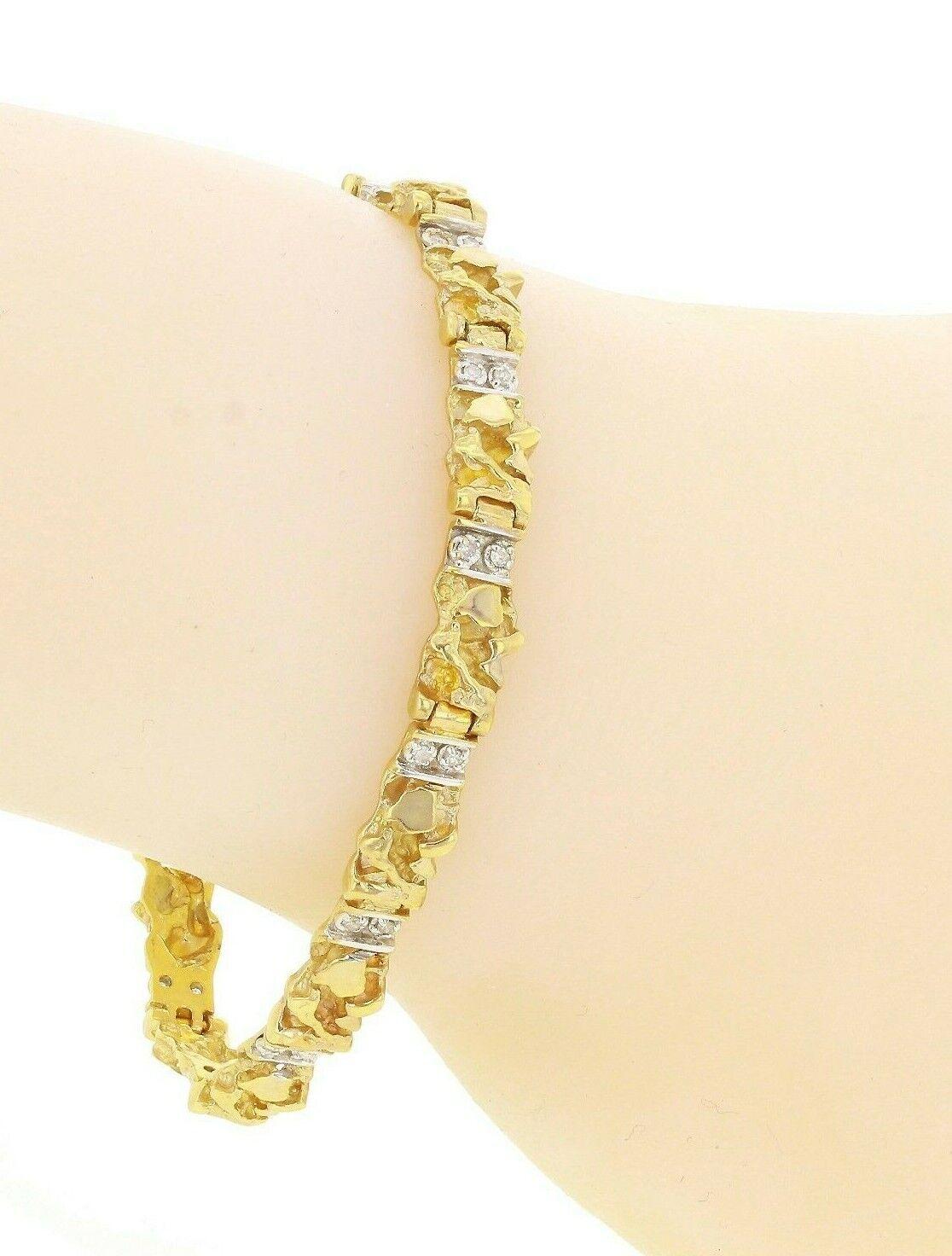 "10k Yellow Gold Diamond Nugget Bracelet 7"" 6mm 13.9 grams"