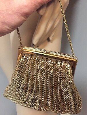 Vintage Gold Mesh Evening bag structured frame  by Whiting and Davis