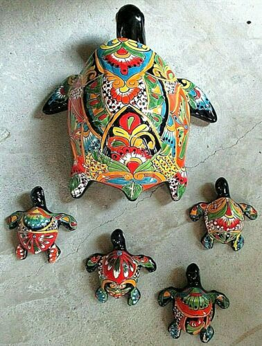 "Mexican Art Talavera Pottery Ceramic Sea Turtle Mom Babies Figure Nautical 18"""
