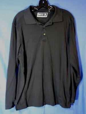 CUTTER & Buck L/S Dry Tec JERSEY Knit Pullover GOLF POLO SHIRT BLACK Wicking M Cutter & Buck Jersey Polo Shirt
