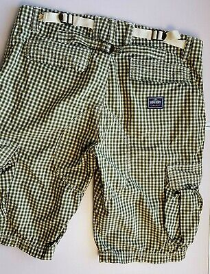SUPERDRY MENS CARGO COMBAT SHOR W34 (L) OLIVE GREEN WHITE CHECK