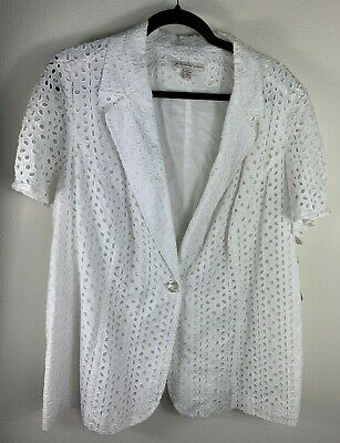 NWT Womens White Eyelet One Button Jacket Size 16W Career Work JM Collection New
