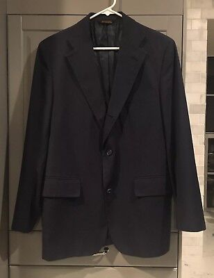 J. Press Navy Blue Sport Coat Blazer, 3/2 Roll Half Lined 39R, Made In USA for sale  Austin