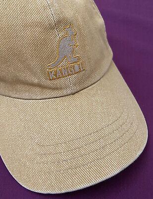Kangol Baseball Cap Beige 100% Cotton Strap Back Distressed Look Vintage Hip Hop