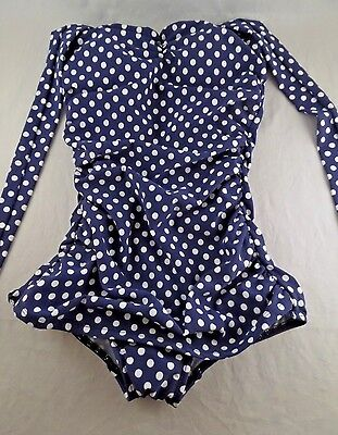 NWOT Womens Girl Howdy 1pc Swimsuit in Blue w White Polka Dots 4
