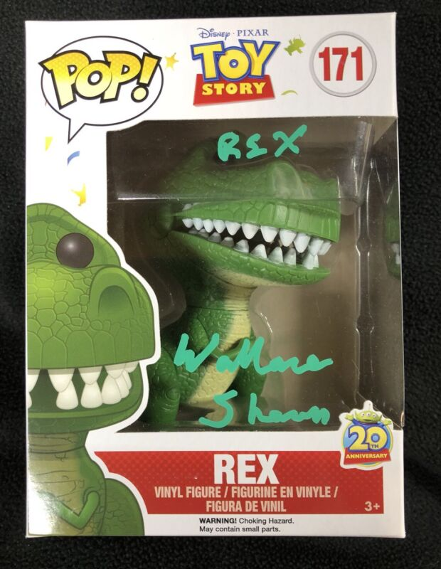 Wallace Shawn Signed & Inscribed Toy Story Rex Vaulted Funko Pop Figure