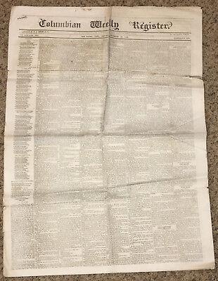 Antique Newspaper  December 18 1869  Columbian Weekly Register  New Haven  Conn