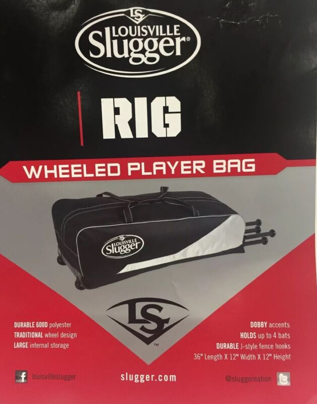 Louisville Slugger Rig Wheeled Player Bag New With Tags Black/Gray C25