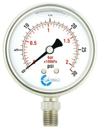 "2-1/2"" Pressure Gauge, ALL STAINLESS STEEL, Liquid Filled, Lower Mnt, 30 Psi"
