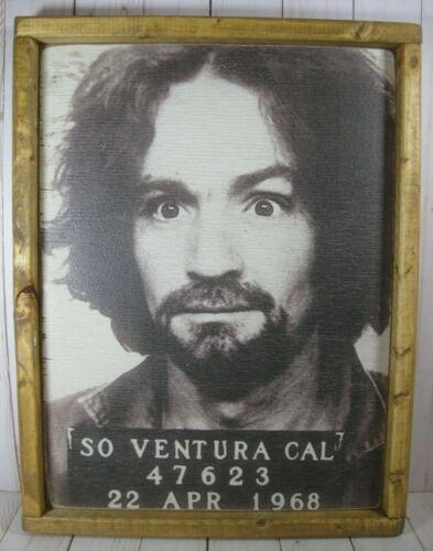 """Charles Manson Mug Shot Print on Wood Art Rare Vintage 17""""x13"""""""