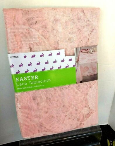 """Easter Spring Flowers & Eaggs Pastel Pink Oblong 60"""" x 104"""" Tablecloth NWTs"""