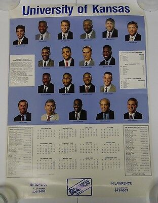 OLD VINTAGE 1989 1990 OFFICIAL KANSAS JAYHAWKS KU NCAA BASKETBALL TEAM POSTER
