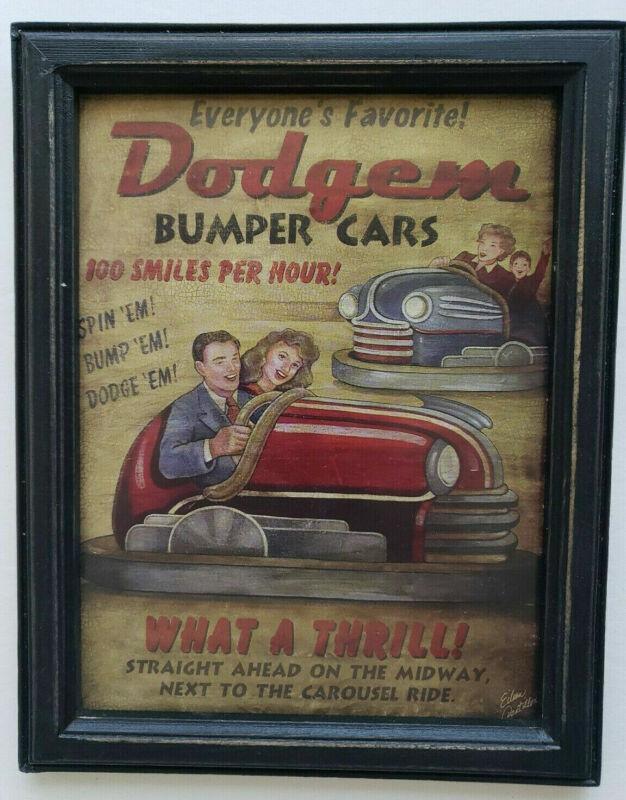 Dodgem Bumper Cars Rustic Retro Wood Framed Sign