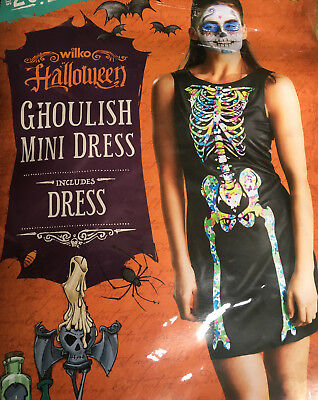 NEW ladys fancy dress Ghoulish Mini Dress size -