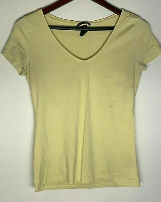 H&M Basic Womens Medium V-Neck Yellow Blouse