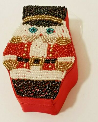 Department 56 Red Satin Beaded Christmas Soldier Lidded Trinket Box Ornament 4""