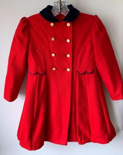 Vintage F.W. Fischer Designs Girls Red Wool Coat with Navy Blue Velvet Trim USA
