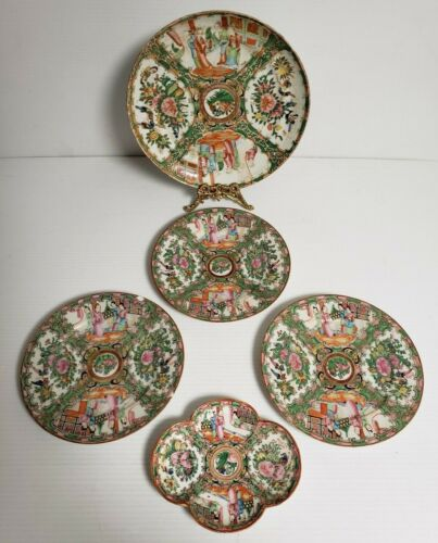 5-pcs Chinese Export Rose Medallion China Plate Porcelain Canton Famille Rose