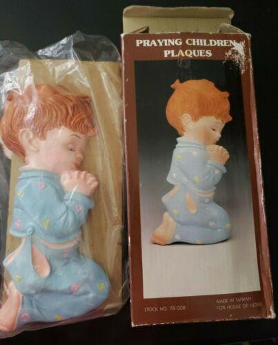 House of Lloyd - Praying Children Plaques Chalkware boy & girl VTG