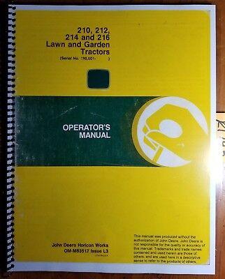 John Deere 210 212 214 216 Lawn Garden Tractor Sn 190001-360000 Operator Manual