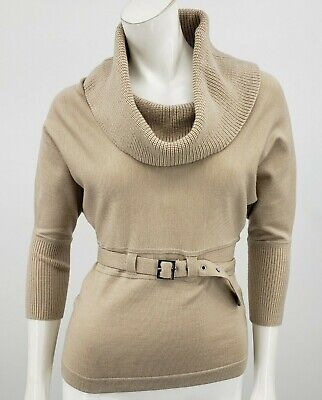 Karen Millen Belted Sweater Womens 2 Cowl Neck Tan Top Wool Blend ()