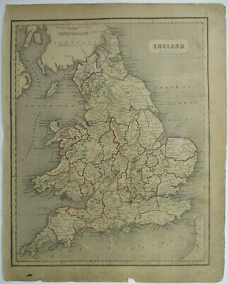 Antique Map of England by William & Robert Chambers 1845