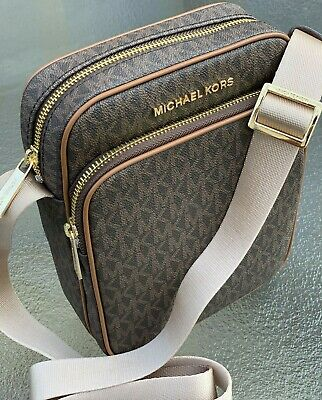 NWT ! Michael Kors  JET SET TRAVEL BROWN MK Signature Flight Bag Crossbody