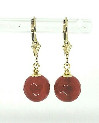 14k Yellow Gold Filled Faceted Red Ruby Jade Ball Post Leverback Dangle Earrings