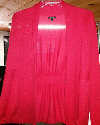 Apt.9 Red Sparkle Sweater Cardigan Top, Women's Size Large