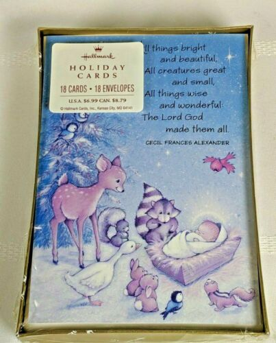 Hallmark Baby Jesus Forest Animals Boxed Christmas Cards Sealed 18 Cards