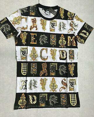 Versace Print Cotton Logos  King Crew Neck Multi  Logo Jersey T-shirt  Men's